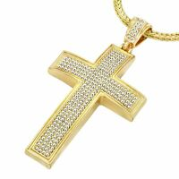 Mens 14k Gold Plated XL CROSS  Pendant with 4mm 30 inch Franco Chain