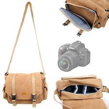 Tan Canvas Satchel Bag for Nikon D600, D5200 & D7100 SLR Camera w/ Strap