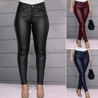 Mode Femme Coupe Slim Pantalon en cuir Long Personnalité Loose Couleur Unie Plus