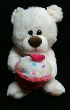 "Kellytoy White Teddy Bear With Cupcake Stuffed Plush Animal 10"""