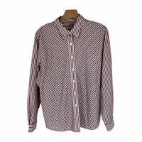 Foxcraft woman shirt blouse black red striped wrinkle free size 18