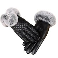 Women'S Winter Genuine Sheepskin Leather Gloves Real Rex Rabbit Fur Thick W C6M2