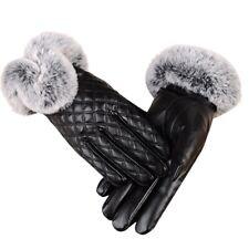 Women'S Winter Genuine Sheepskin Leather Gloves Real Rex Rabbit Fur Thick W C6M2