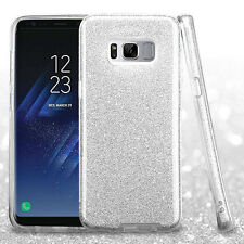 For Samsung Galaxy S8+ PLUS Silver Full Glitter Hybrid Protector Skin Case Cover