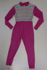 Vintage Unitard Bodysuit Spandex Workout Pink Stripe Size S
