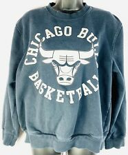 Chicago Bulls Women's Large Mitchell & Ness Black Cotton Sweatshirt Retro Logo