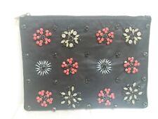 Black Leather Embellished Beaded Clutch Bag