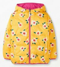 NEW Hanna Andersson REVERSIBLE Floral DOWN Puffer Jacket, Sz 100 US 4 Sunshine