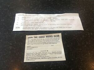 original corgi model club leaflet, and chipperfield crane truck note .