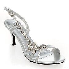 Maisie-11 Rhinestone Open Toe Slingback Kitten Low Heel Prom Wedding Sandal Pump