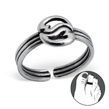 Tjs 925 Sterling Silver Toe Ring Heart Yin Yang Triple Band Adjustable Oxidised