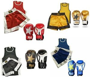 KIDS BOXING UNIFORM SET 2 TOP & SHORTS WITH BOXING GLOVES AGE  3-14 YEARS R A X