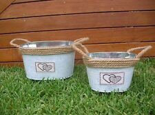 SET OF 2 SHABBY COUNTRY OVAL METAL ROPE PLANTER TUBS BUCKET