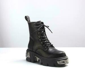 New Women Rock Metallic Leather Goth Punk Military Ankle Boots Biker Shoes Size