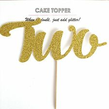 TWO Gold Glitter Card Cake Topper, boys girls birthday, 2nd second