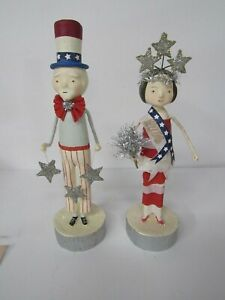 Bethany Lowe Patriotic 2 Piece Set Uncle Sam W Garland and Miss 1776 New ML8899