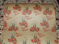 """VTG MERRY CHRISTMAS 1940 WW2 WRAPPING PAPER CANDLES POINSETTIAS 18"""" x 30"""""""