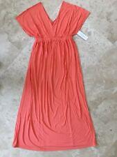 NEW Liz Lang Women's Maternity Soft Knit Maxi Dress Coral Color Size M