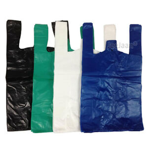Plastic Carrier Bags Blue/White/Black Vest T-Shirt Select Qty,Size & Thickness