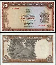 Rhodesia 5 dólares (P36br) 1978 prefijo Y/1 reemplazo AU/UNC