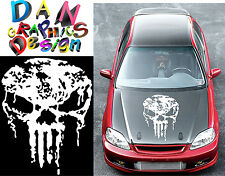 "30"" punisher skull vinyl decal sticker car hood door wall rally jdm racing white"