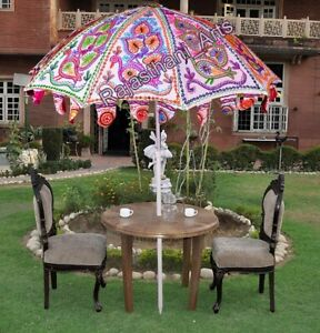"Indian Outdoor Sun Shade Patio Umbrella 70"" Peacock Embroidered Garden Parasol"