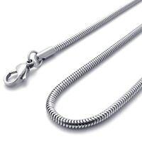 Schmuck Damen-Kette, Edelstahl Panzerkette Schlangen Halskette, Silber(Breit x1k