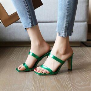 Lady High Heels Open Toe Sandals Women Slide Slipper Slip On Summer Fashion Shoe
