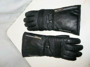 Vintage Harley Davidson Leather Riding Gloves with rain protectors Zipper Buckle