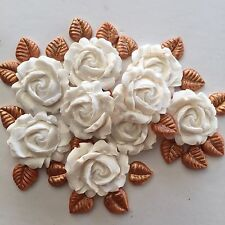 Edible 3D WhIte Roses With Gold Leaves Cake, Cup Cake Decorating Toppers