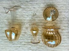 Amber Tinted Glass Vanity Set with Perfume Bottle, Bud Vase, and Small Container