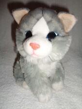 """Cat Gray & White 9"""" Sitting blue eyes Stuffed Plush Beabag Kitten Goi Games"""