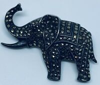 "Vintage 1910s Sterling Silver Elephant Pin w/ Marcasite ""Cut Steel"" Pave"