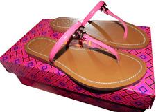 Tory Burch T Thong Sandal Pink Saffiano Leather Flat Shoe Flip Flop 6.5 Slide