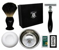 Men Barber Salon Shaving Kit - Safety Razor Blade, Badger Brush, Soap & Bowl