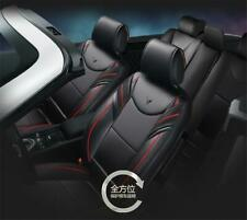 Black PU Leather Car Seat Covers 5-Seats Cushions Front & Rear Full Set Interior