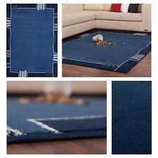 Moderne Teppiche Flachflor Designer NEU Bordüren Design Angebot Blau Hellblau