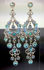 Chandelier Blue Crystal Long Dangle Drop Earring Silver Rhinestone Wedding 8cm