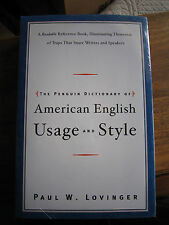 The Penguin Dictionary of AMERICAN ENGLISH: USAGE AND STYLE by Paul Lovinger PB