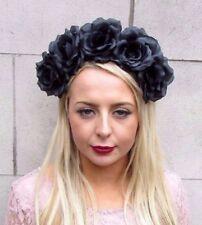 Large Black Rose Flower Sugar Skull Headband Hair Crown Day of the Dead Big 4089