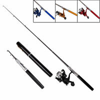 Telescopic Pocket Pen Shape Mini Aluminum Alloy Fishing Rod Pole+Reel 100cm Line