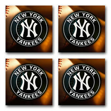 New York Yankees Baseball Rubber Square Coaster set (4 pack) Src2018