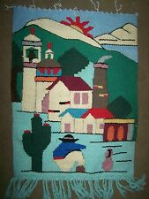 Thick Cotton Handwoven Wall Hanging, Mexican Village Scene - Mexico