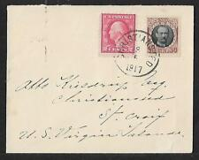 DWI -USA MIXED FRANKING COVER CHRISTIANSTED TO ST CROIX 1917