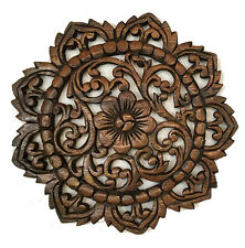 Round Wood Carved Floral Wall Art. Decorative Asian Wood Wall Plaque. Brown 12""
