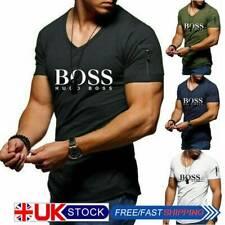 UK Mens V-Neck T-shirt Short Sleeve Summer Tee Tops Bodybuilding Muscle Shirt