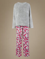 Ladies Marks & Spencer Grey Fleece Top Floral Bottoms Pyjamas Set Size 16 - 18