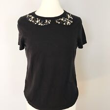 Ann Taylor Embellished Women's Black Blouse Top Size L Merino Wool Career Casual