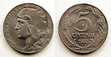 Variante-II Republica. 5 Centimos 1937. Punto en reverso. UNC/SC. 3,9 g. Rara