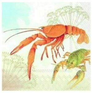 20 Servietten Papier Lunch-Servietten 33 x 33 cm Krebse Flusskrebs Crayfish IHR